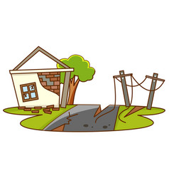 Scene with broken house from earthquake vector
