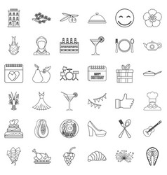 seafood icons set outline style vector image