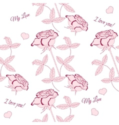 Seamless pattern with pink rose-02 vector