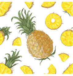 Seamless pattern with whole and cut pineapples vector