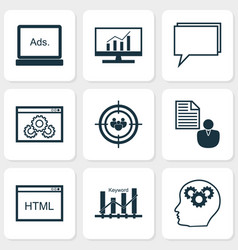 seo icons set collection of market research vector image vector image