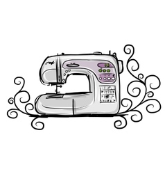 Sewing machine modern tro sketch for your design vector image
