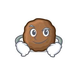 Smirking meatball character cartoon style vector