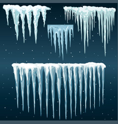 snowdrifts icicles ice caps set snowcap and vector image