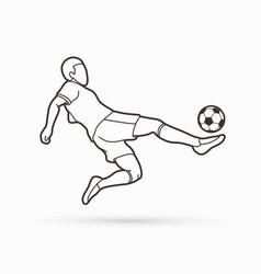Soccer player hit ball bicycle kick vector