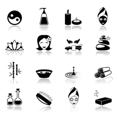 Spa icons black vector