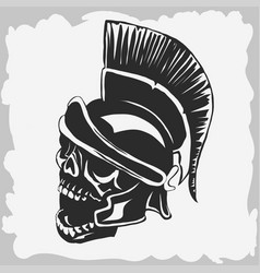 spartan warrior skull in ancient helmet vector image