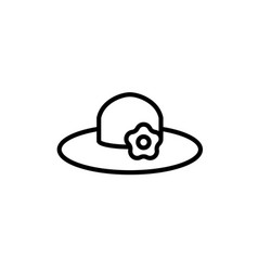 sun hat icon thin line black on white background vector image