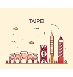 Taipei skyline Trendy linear vector image