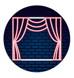 theater curtain with light of neon icon vector image