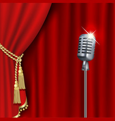 Theater stage with microphone vector