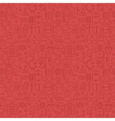 Thin Medical Line Health Care Red Seamless Pattern vector image