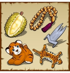 Tiger set beads and exotic items five images vector image