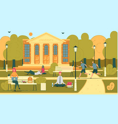 University or college students in campus scene vector
