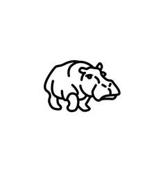 Web line icon hippo wild animals black on white vector