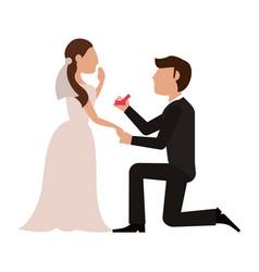 Wedding proposal cartoon vector
