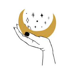 womens hand holding moon and stars trendy linear vector image