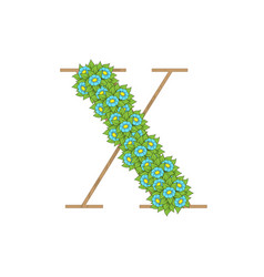 wooden leaves letter x vector image
