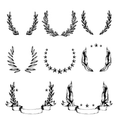 Wreath collection in sketch style vector
