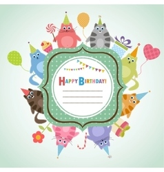 Birthday frame with cats vector image vector image
