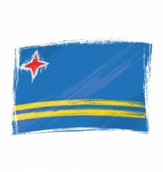 grunge aruba flag vector image vector image