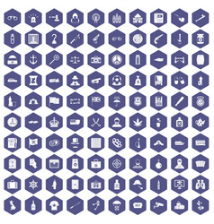 100 offence icons hexagon purple vector image vector image