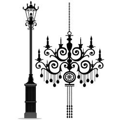 black chandelier vector image