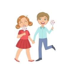 Boy And Girl On A Date Eating Candy vector image vector image