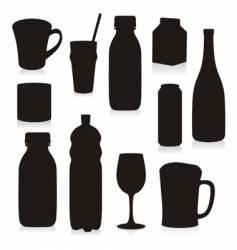 silhouettes drink containers vector image vector image