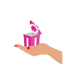 box gift pink in hand vector image