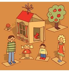 cardboard family vector image
