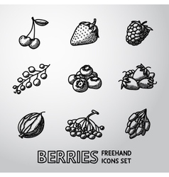 Set of freehand BERRIES icons - cherry strawberry vector image
