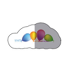 sticker multicolored balloons with serpentine on vector image vector image