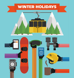 winter holidays modern flat background with hand vector image vector image