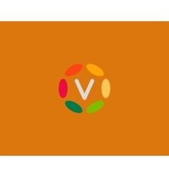 Color letter V logo icon design Hub frame vector image vector image