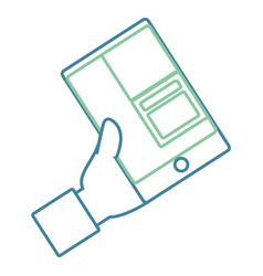 flat line colored hand with smartphone vector image