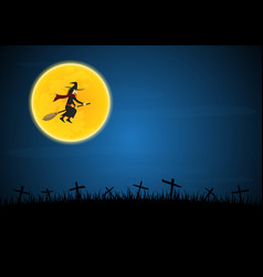 halloween witch flying on broom vector image vector image