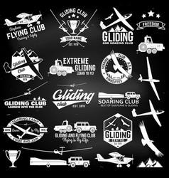 soaring club retro badges and design elements vector image