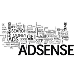 what can adsense do for you text word cloud vector image vector image