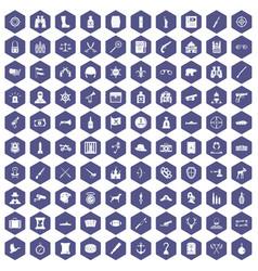 100 guns icons hexagon purple vector