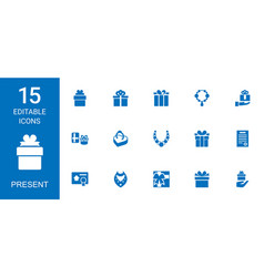 15 present icons vector image