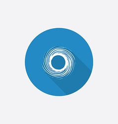 Abstract circle Flat Blue Simple Icon with long vector