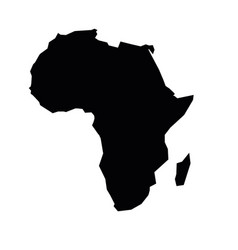 Africa black silhouette contour map continent vector
