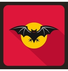 Bat and moon icon flat style vector image