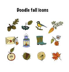 big set of handdrawn unique autumn icons vector image