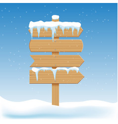 blank wooden signs with snow billboard banner vector image