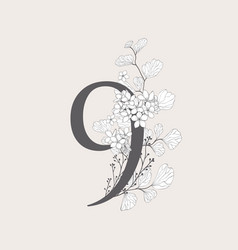 Blooming floral number 9 monogram and logo vector