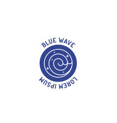blue sea wave logo in doodle hand drawing icon vector image