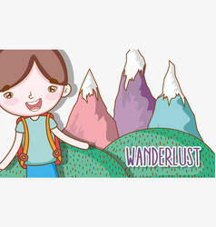 Boy with ice mountains wanderlust adventure vector
