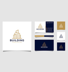 building logo with line art style city building vector image
